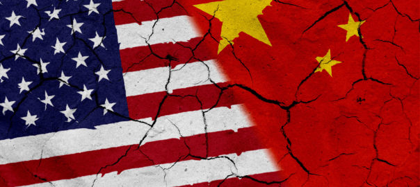 china and usa flags with cracks
